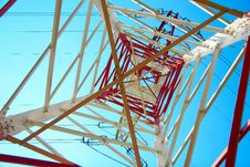 Free Red And White Electricity Pylon Stock Image - 15373421
