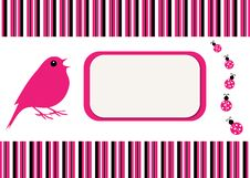 Free Bird & Ladybugs Stripe Card Stock Photo - 15373530