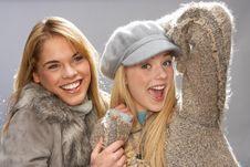 Free Two Teenage Girls Wearing Knitwear In Studio Royalty Free Stock Photo - 15373755