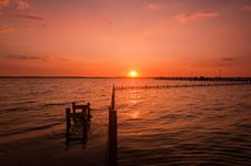Free Sunset Over Pier Royalty Free Stock Photo - 15373765