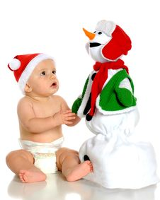 Awed By Snowman Royalty Free Stock Image