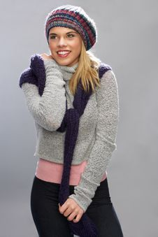 Free Teenage Girl Wearing Warm Winter Clothes In Studio Royalty Free Stock Image - 15374036