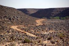 Trail In The Libyan Desert Stock Photo
