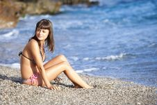 Free Beauty Sitting On The Beach Royalty Free Stock Photo - 15375955