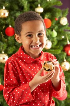 Free Boy Eating Mince Pie In Front Of Christmas Tree Stock Image - 15376611