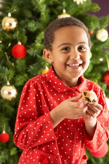 Free Boy Eating Mince Pie In Front Of Christmas Tree Stock Images - 15376704