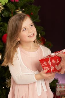 Girl Holding Present In Front Of Christmas Tree Royalty Free Stock Photo