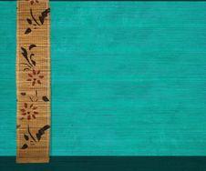 Free Flower Bamboo Banner On Aquamarine Ribbed Wood Stock Image - 15377641
