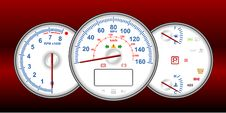 Speedometer And RPM Gauge Cluster Royalty Free Stock Image