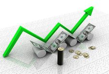 Business Graph With Dollar Stock Photography