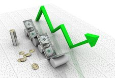 Business Graph With Dollar Stock Photo