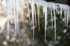 Free Close Up Of Icicles Hanging From Roof Stock Image - 15378721