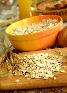 Oats In Bowl On Wooden Royalty Free Stock Photo