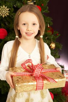 Girl Holding Christmas Present In Front Of Tree Royalty Free Stock Photo