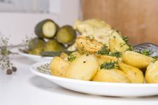 Free Young Fried Potatoes With Pickles And Patison Stock Images - 15379904