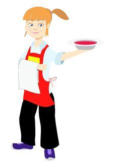 Girl Waiter Stock Photo