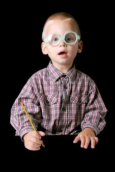 Free Cute Boy With Pencil Royalty Free Stock Photos - 15382488