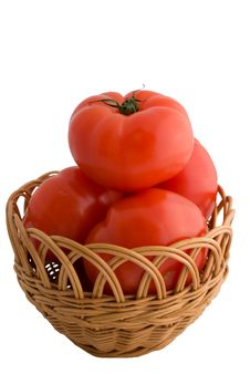 Free Red Tomatoes With A Basket Isolated On White Royalty Free Stock Photography - 15383877