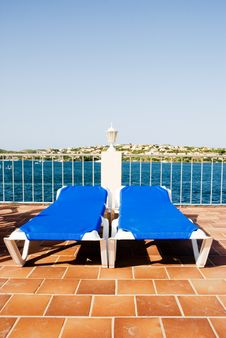Sun Loungers Royalty Free Stock Photography