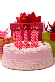 Pink Pie With Eleven Candles Stock Photography