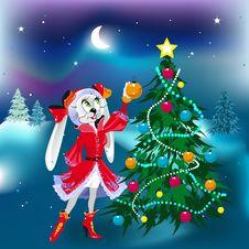 New Year Rabbit Girl Stock Image