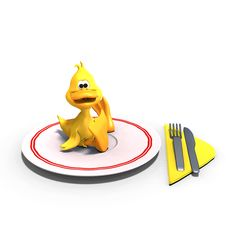 Cute And Funny Toon Duck Served On A Dish As A Royalty Free Stock Photo