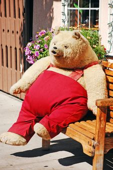 Teddy Bear On Bench Stock Image