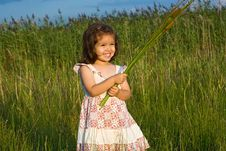 Free Girl Holding Reeds Stock Photos - 15388593