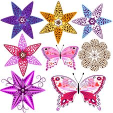 Free Set Flowers And  Butterflies Royalty Free Stock Photography - 15388767