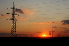 Free Electricity Towers At Sunset Stock Photos - 15390623