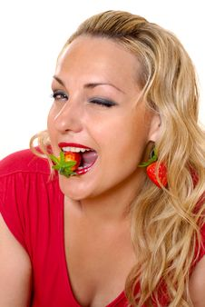 Free Girl And Strawberries Royalty Free Stock Image - 15390626