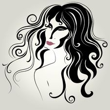 Free Vector Portrait Of Woman With Long Hair Stock Photos - 15390643