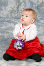 Free Baby Girl In Christmas Dress Royalty Free Stock Images - 1543279