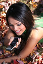 Free Autumn Scene Fall Woman With Cell Phone Stock Photos - 1543483