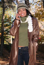 Free Autumn Scene Fall Woman With Cell Phone Stock Photos - 1543723