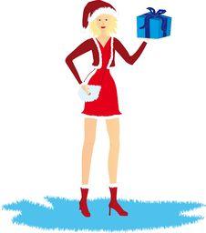 Free Christmas Girl With Gift Stock Image - 1540271