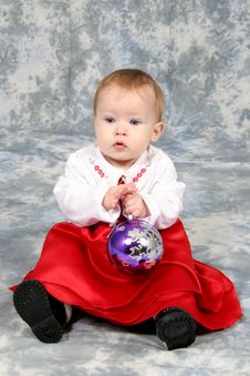 Free Baby Girl In Christmas Dress Royalty Free Stock Image - 1543276