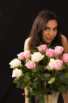 Free Girl With Roses Stock Images - 1543444
