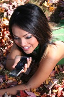 Autumn Scene Fall Woman With Cell Phone