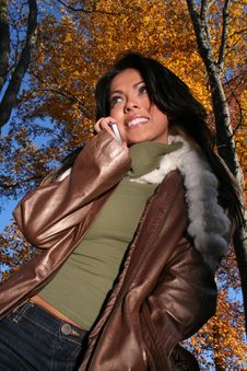 Free Autumn Scene Fall Woman With Cell Phone Royalty Free Stock Image - 1543756