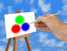 Free Red, Green, Blue (RGB Model), Hand With Brush Stock Photography - 1545872