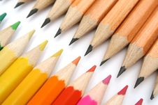 Free Pencils For Plotting Against Color Brothers Stock Image - 1546711