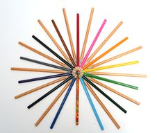 Multi-colored Pencils Have The Form Of A Star