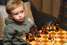 Free Young Boy Playing Chess Stock Photography - 1546942