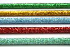 Free Five Celebratory Color Pencils With A Sparkling Covering Macro Stock Photos - 1546963