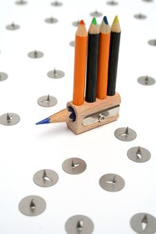Free Small Color Pencils On A Unusual Sharpener 2 Royalty Free Stock Photography - 1546987