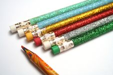 Set Of Celebratory Pencils About A Multi-colour Pencil