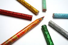 Free The Multi-colour Pencil Is Surrounded By Brilliant Pencils Stock Photography - 1547092