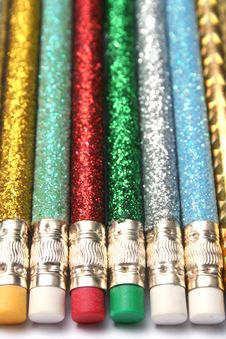 Free Set Of Celebratory Brilliant Pencils Laying In Parallel Stock Photo - 1547250