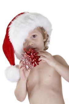 Santa Child With Christmas Bows